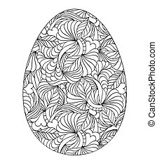 Abstract easter egg on white background. Coloring page for children and adult. Vector illustration.