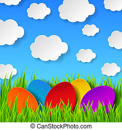 Abstract Easter eggs made of paper on colorful spring background with green grass, sky and clouds. Vector eps10 illustration