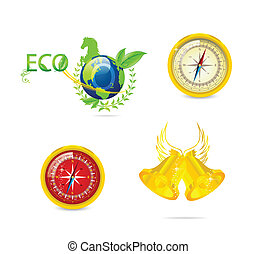 abstract eco and travel symbols set