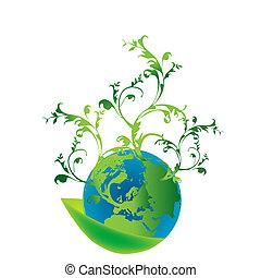 abstract, eco, concept, met, zaad, en, de, planeet land