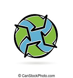 Abstract eco environment recycle icon planet earth concept. Vector illustration.