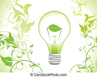 abstract eco glossy bulb icon