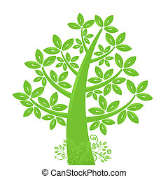 Abstract Eco Tree Silhouette with Leaf and Vines