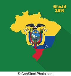 Ecuador - abstract Ecuador flag on abstract Brazil map