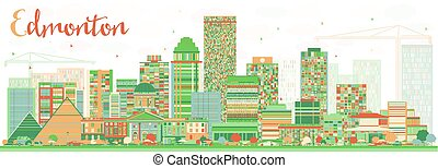 Abstract Edmonton Skyline with Color Buildings.
