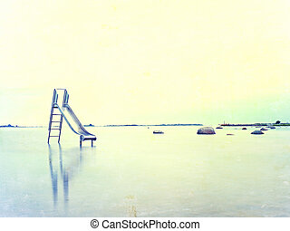 Abstract effect. Old steel slide in lake. Chrome ladder tower with  sliding track, big granite stones