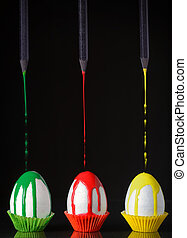 Abstract eggs and black pencils
