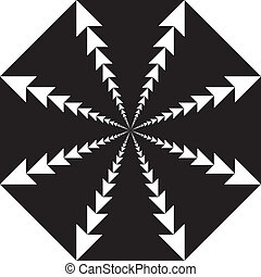 Abstract eight-pointed star ftom arrows, negative space on transparency background element