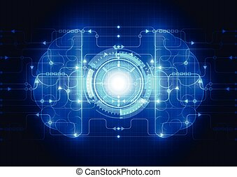 Abstract electric circuit digital brain, technology concept vector