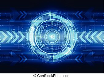 Abstract electric circuit digital brain, technology concept ...