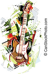 Abstract electric Guitar - This Electric-Guitar Vector Image...