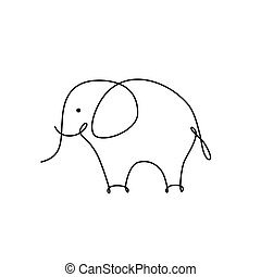 abstract, elefant, lineair, pictogram