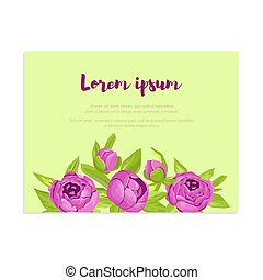 Abstract elegance card with purple peonies for wedding invitation, marriage card, congratulation banner, advertise