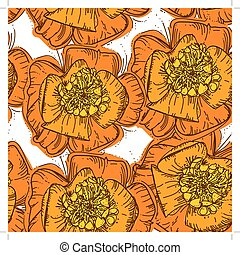 Abstract Elegance Seamless pattern orange flowers with brown contour on white background.