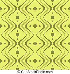 Abstract elegant seamless pattern of vertical wavy bands and circles in green colors. Vector illustration for stylish creative design