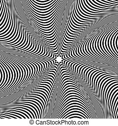 Abstract element with radiating lines. Monochrome concentric...