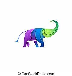 abstract Elephant Logo gradient design