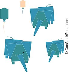 abstract elephants simple vector illustration