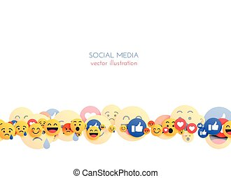 abstract emoji background with mixed smiley reactions