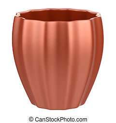 Abstract empty flower pot isolated on white background.