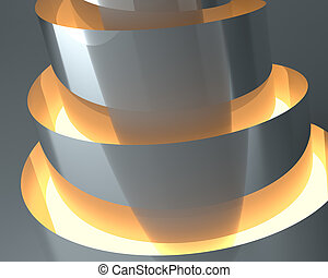 Abstract empty illuminated light shining architectural object, 3d rendering