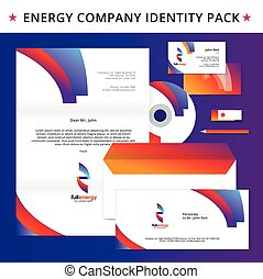 Abstract energy identity pack vector concept. Logo, vizit cards, cd, letter, usb flash drive, folder and other id blanks. Good for company branding set.