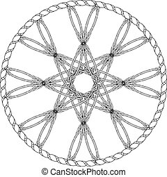 Abstract entwined wheel with octagonal star in knotted circle