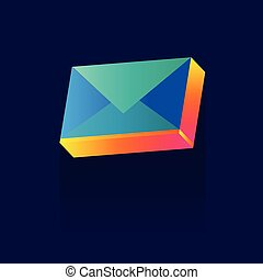 Abstract envelope symbol. Mail concept. icon. Vector illustration. color. logo. symbol. on blue background