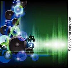 Abstract equalizer background with speakers. Blue-Green wave.