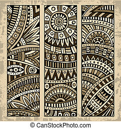 Abstract ethnic pattern card set - Abstract vector hand...