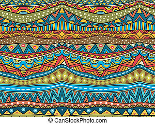 Seamless geometric ethnic pattern. Abstract African pattern in vivid colors. Fancy multicolored background ornament. Vector file is EPS8, all elements are grouped by colors. Easy to recolor. Drop pattern into your AI swatches and use as fill.