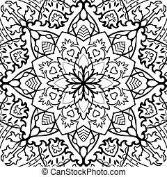 Abstract ethnic pattern. Vector black and white background....