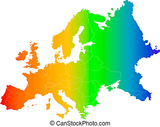 europe color map - Abstract europe color map on white