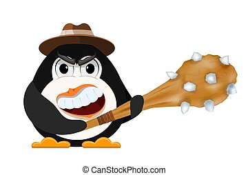 Abstract evil penguin with a hat and a primitive cudgel in his hands. The concept of anger and anger. Cartoon style vector illustration