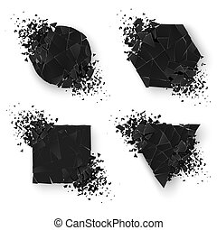 Abstract explosion geometric shapes. Web banners set. Geometry sticker set with space for text. Vector illustration isolated on white background
