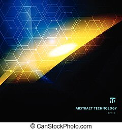 Abstract explosion of light with hexagonal patterns on dark background copy space. Technology digital futuristic style.