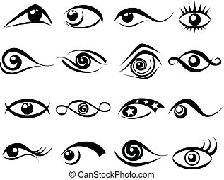 Abstract eye symbol set