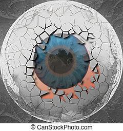 Abstract eyeball - Digitally rendered illustration of an...