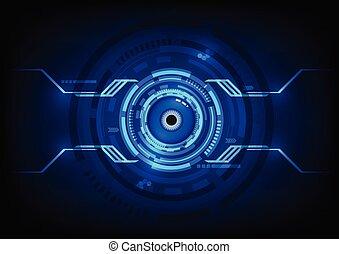 Abstract eyes futuristic digital technology shiny background.