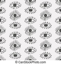 Abstract eyes seamless pattern.