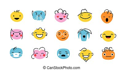 Abstract face characters vector illustration isolated on white background. Expression people emotions with interest elements, hair, eyebrow, eye, ear. Flat design in trendy cartoon line style