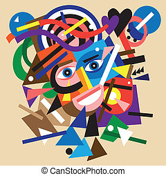 abstract face illustration