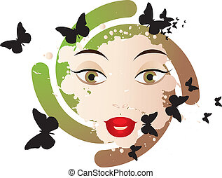 Abstract face of a woman with butterflies and swirls