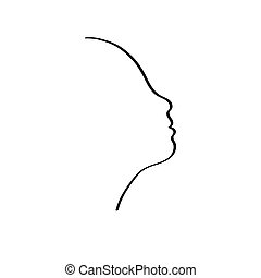 Abstract face one line drawing.