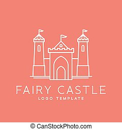Abstract Fairy Tale Castle Line Style Vector Logo Template