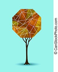 Abstract fall tree geometric illustration design