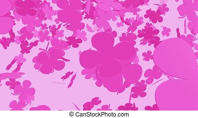Abstract falling clover in pink