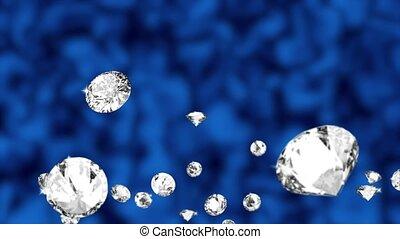 Abstract Falling Gems Diamond Background Green Scrren. ...