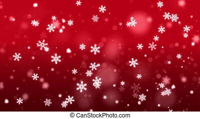 Abstract Falling particles snow snowflakes lens flare on Red dark loop 4K background.