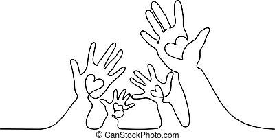 Abstract family hands holding hearts One line